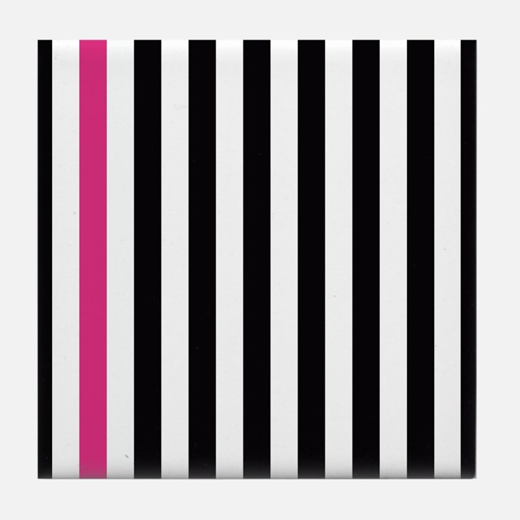 With A Pink Stripe Tile Coaster