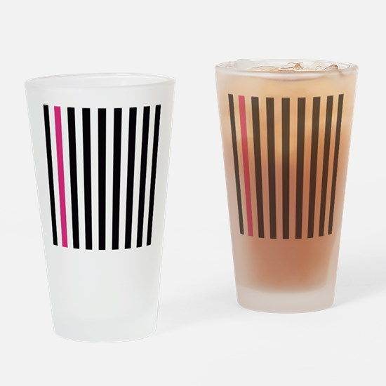 With A Pink Stripe Drinking Glass