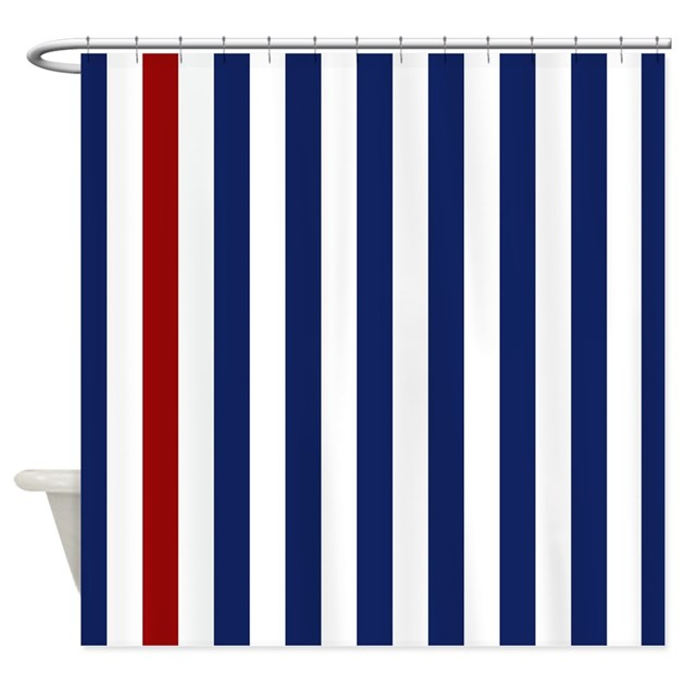 Nautical Red Stripe Shower Curtain By Stripstrapstriped