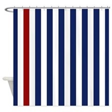 Nautical Red Stripe Shower Curtain