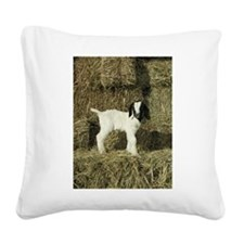 Kid Playing In The Hay Square Canvas Pillow