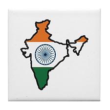 INDIA MAP FLAG Tile Coaster