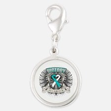 Cervical Cancer Victory Silver Round Charm