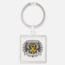 Appendix Cancer Victory Square Keychain