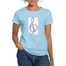 Treble Clef Women's Pink T-Shirt (Blueberry)