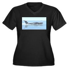 Unique Seaplane Women's Plus Size V-Neck Dark T-Shirt