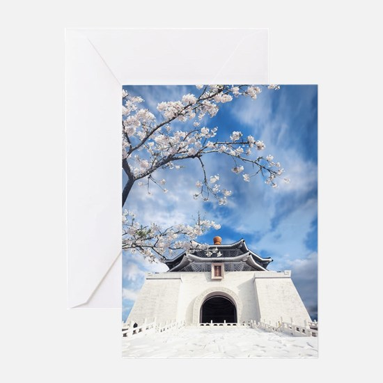 Temple in Snow Greeting Cards