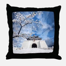 Temple in Snow Throw Pillow