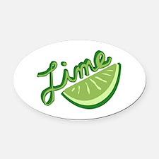 Cute Lime Slice Oval Car Magnet