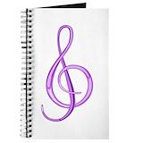 Red treble clef Journals & Spiral Notebooks