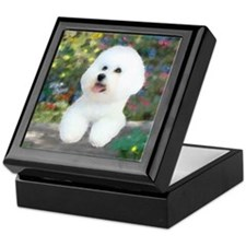 Bichon At Garden Wall Keepsake Box