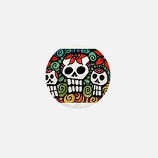 Day of the Dead Floral Sugar Skulls Mini Button