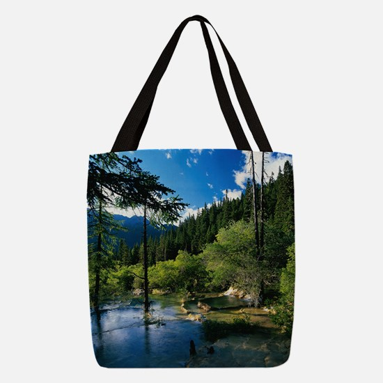 Mountain Forest Lake Polyester Tote Bag
