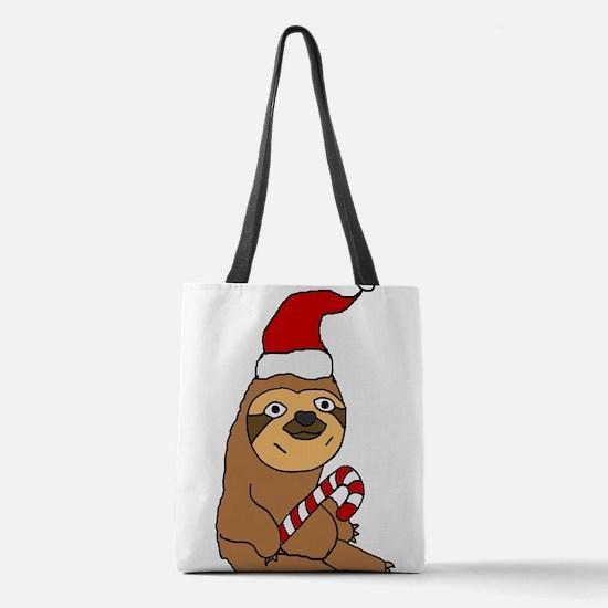Funny Sloth in Santa h at Chris Polyester Tote Bag