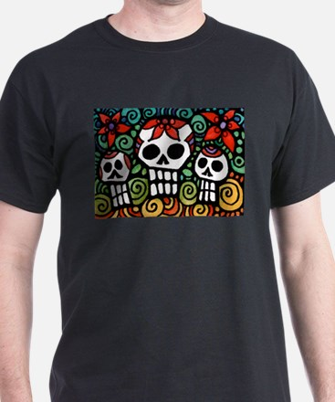 Day of the Dead Floral Sugar Skulls T-Shirt
