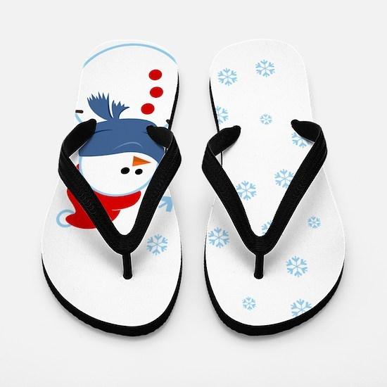 Cute Snowman Flip Flops