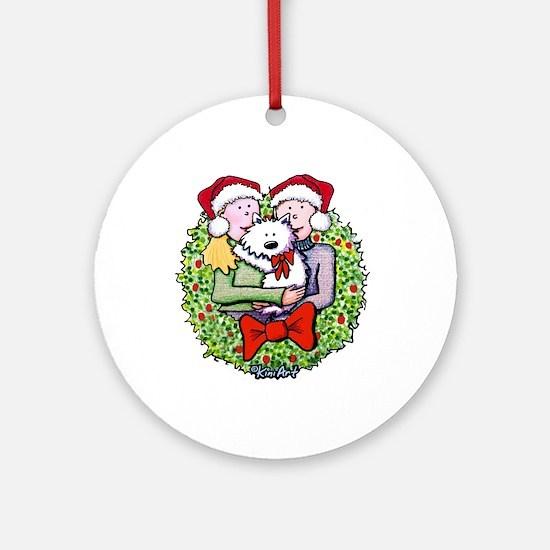 Westie Family Christmas Ornament (Round)
