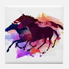 Cute Horses Tile Coaster