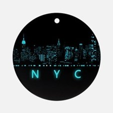 Digital Cityscape: New York City, N Round Ornament