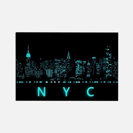 Digital Cityscape: New York City, Rectangle Magnet