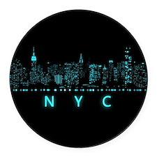 New York City: Digital Round Car Magnet