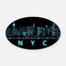 Digital Cityscape: New York City, Oval Car Magnet
