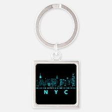 Digital Cityscape: New York City, Square Keychain