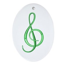 Treble Clef Oval Ornament<br>(Lime)
