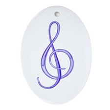 Treble Clef Oval Ornament (Blueberry)