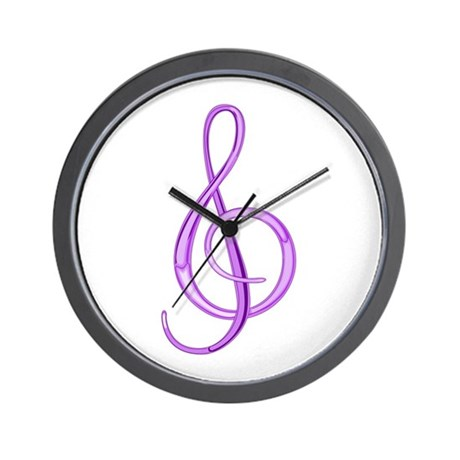 Treble Clef Wall Clock (Grape)
