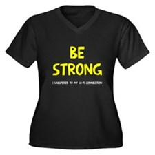 Be strong wi Women's Plus Size V-Neck Dark T-Shirt