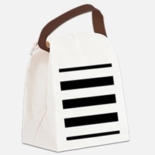 Chic Black and White Stripes Canvas Lunch Bag