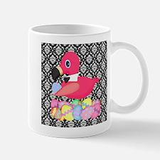 Easter Pink Flamingo on Black Damask Mugs