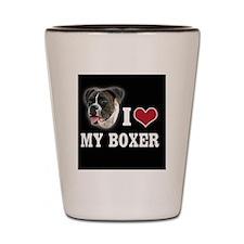 Heart Boxer Black Shot Glass