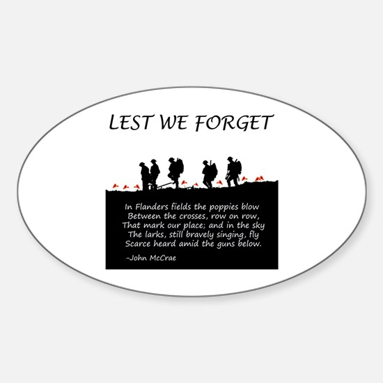 WWI Remembrance Sticker (Oval)