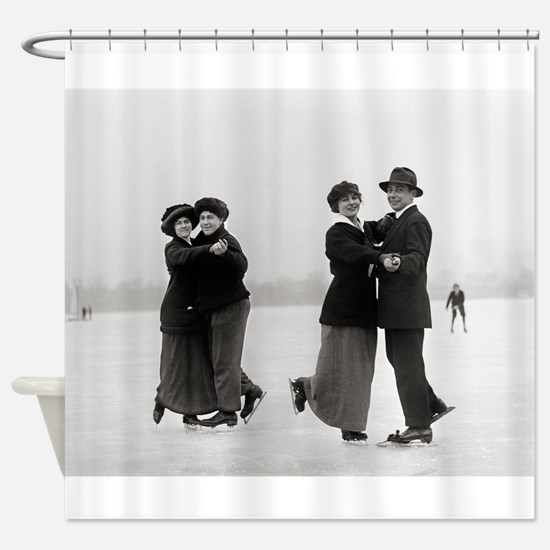 Ice Skating Couples, 1915 Shower Curtain