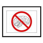 The No Brain Large Framed Print