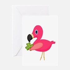 Pink Flamingo Shamrock Greeting Cards