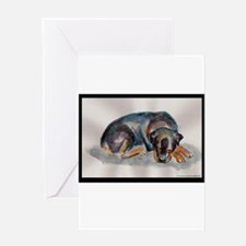 Sleeping Rottweiler Greeting Card