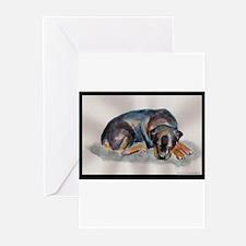 Sleeping Rottweiler Greeting Cards (Pk of 10)