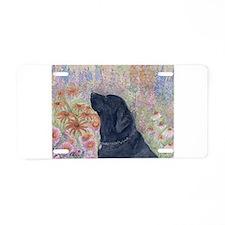 Black Labrador in the garden Aluminum License Plat