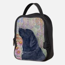 Black Labrador in the garden Neoprene Lunch Bag