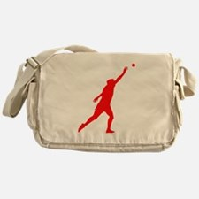 Red Shot Put Silhouette Messenger Bag
