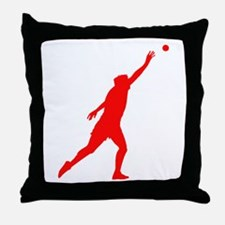 Red Shot Put Silhouette Throw Pillow