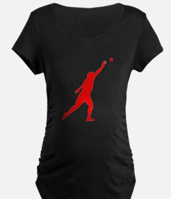 Red Shot Put Silhouette Maternity T-Shirt