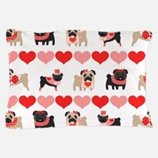Pug Valentines and Hearts Pillow Case