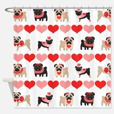 Pug Valentines and Hearts Shower Curtain