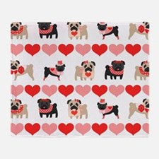 Pug Valentines and Hearts Throw Blanket