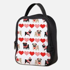 Pug Valentines and Hearts Neoprene Lunch Bag