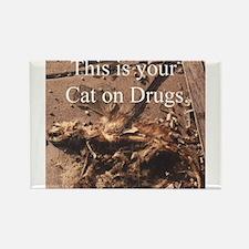 Cat on Drugs Rectangle Magnet